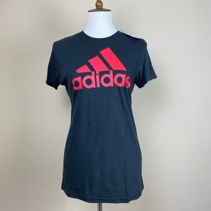 NWT Adidas Womens Shirt Small Black Red Top
